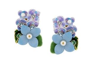 Květinové náušnice FLOX hortenzie modré